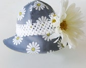 Baby & Toddler Sun Hat - Reversible Daisy Print with Flower Headband, Blue/Gray White Chartreuse, Ultra-suede Reverse - Baby Souls