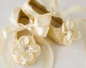 Gold Toddler Ballet Slippers - Gold Baby Shoes, Flower Girl Shoe, Also, Silver, Ivory, White, Little Girls Easter Ballet Slipper, Baby Souls