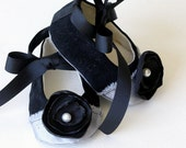 Couture Baby Shoes - Baby Ballet Slipper Baby Shoes, Black and Silver - Toddler Shoe Sizes too - Baby Souls Baby Shoes