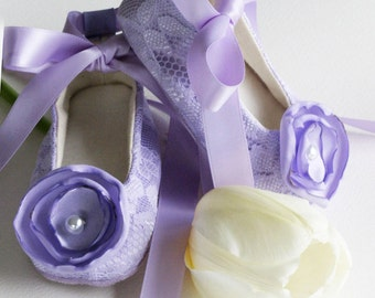 Lilac Lace Baby Shoes, Toddler Lavender Ballet Slipper, Flower Girl shoe, Easter Little Girl,  Special Occasion, Dance, Baby Souls Couture