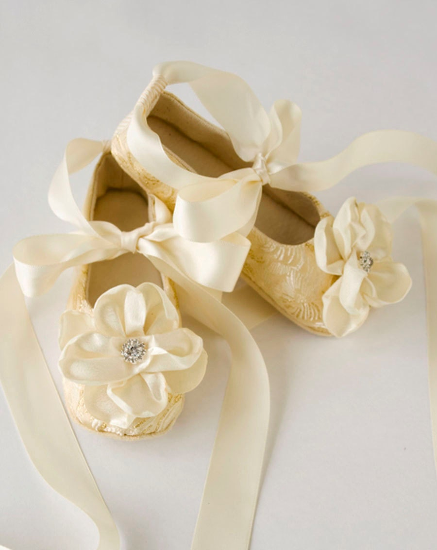Gold Toddler Ballet Slippers Gold Baby Shoes Flower by
