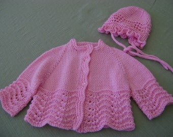Pink Baby Sweater and Hat