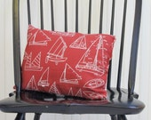 Reserved for MC: Cotton duck & ticking sailboat pillow