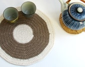 Muted green placemat - Hemp series Woodland green and cream white color - eco friendly - SALE 40% OFF