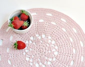 Pink doily placemat  - light pink - cottage style, beach wedding - SALE 40% OFF