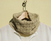 "Neck warmer - Crocheted vegan cowl - Cotton - Ecru, natural color - Coupon ""SPECIAL"" - 15% OFF"
