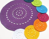 SALE CIJ - 30% OFF - Rainbow placemat and coasters - Doily series - Bright colors - Shiny cotton