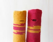 Fingerless gloves Raspberry Mustard  - wrist warmer - Merino wool - bright colors - One of a Kind
