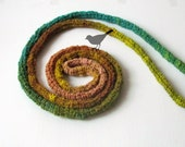 Skinny scarf spring green - Crochet jewelry - extra long necklace - woodland colors - emerald treasure