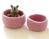 Pink Felted bowl - Spring victorian Pink - Set of two - Cozy gift - theYarnKitchen