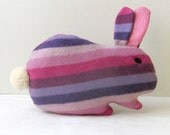 Pink and purple Bunny mom -  upcycled stripe cutie - Soft and cuddling plushies - theYarnKitchen
