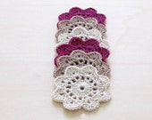 Free Shipping - Crochet flower coasters / garland or embellishment / white cream and purple / set of 6
