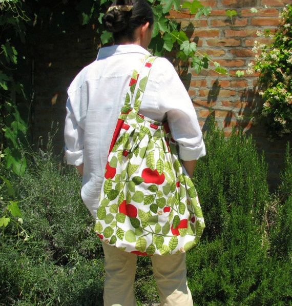 """Big bag tote - An apple a day  -  Ahlmedals of sweden design fabric - Coupon """"SPECIAL"""" - 15% OFF"""