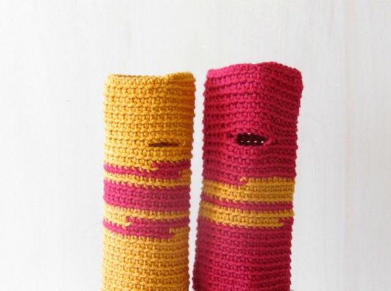 Fingerless gloves Raspberry Mustard  - wrist warmer - Merino wool - bright colors - One of a Kind