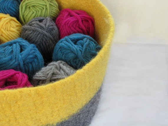Big felted wool bowl - eco-friendly Organic giant bowl / a statement piece / Mustard yellow and grey / Choose your color