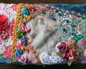crazy quilted shabby chic Pink and blue princess box