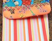 orange stripe oriental glasses pouch OOAK