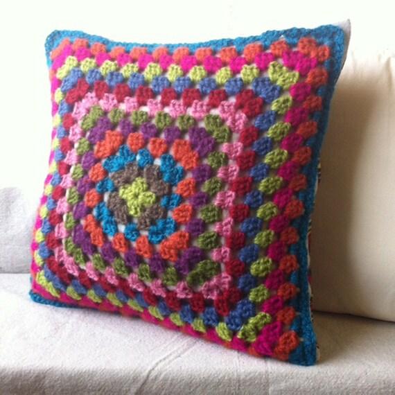 Granny Square Crochet Throw Pillow
