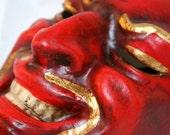 Red Devil Face Mask - Venetian Masquerade Mask - Diabolo Diablo Diavolo Paper Mache Mask