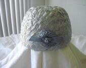 Vintage Blue Straw Hat by Mr. Paul