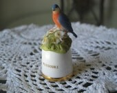 Vintage Missouri State Bird and Flower Thimble Sutherland England