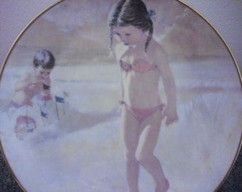 SALE Vintage Little Beachcombers Collectors Plate by Thornton Utz