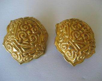 Vintage Dominique Aurientis Large Goldtone Earrings