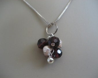 Vintage Italian Sterling Chain with 2 Faceted Purple Bead Pendants