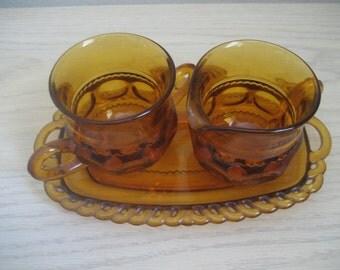 Vintage Glass Amber Cream and Sugar Set Kings Crown Thumbprint