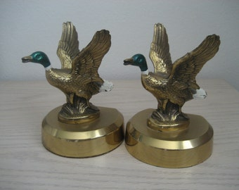 Brass Bookends Mallard Ducks In Flight by PMC