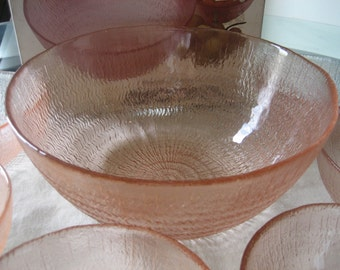Vintage Arcoroc Spirale Rosaline Fruit Bowl Set
