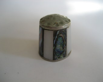 Vintage Abalone and Mother of Pearl Thimble
