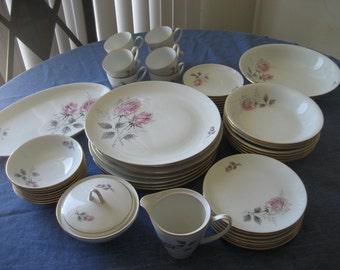 Vintage Bohemian Silver Rose China Set Service for 8 Plus Serving Platter Vegetable Bowl Sugar and Creamer