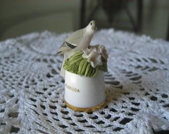 Vintage Florida State Bird and Flower Thimble Sutherland England
