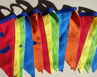 CONGRATULATIONS Fabric Banner/ Bunting in Blue, Red, Orange, Green, Yellow