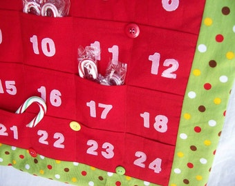 READY TO SHIP/ Christmas Advent Calendar/   in Bright Green Fabric with Dots/ Christmas Countdown with Pockets