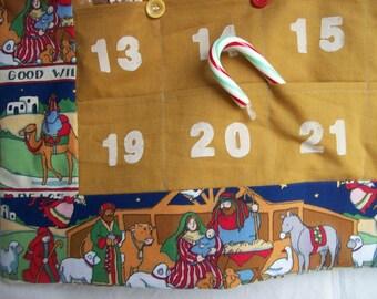 READY to SHIP Christmas Advent Calendar  in Nativity Scene Fabric/ Advent Calendar