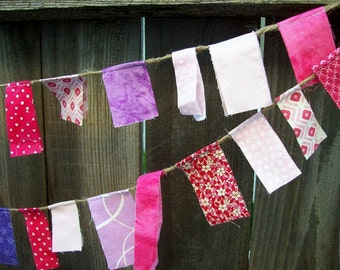 Pink and Purple Fabric Scrappy Garland/ Party Banner / Photo Prop in Pinks, Reds and Purple/ Great for Valentine's Day