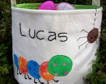 Personalized Easter Basket in Backyard Bugs/  HANDMADE Boy Easter Basket/ Easter Basket with Name