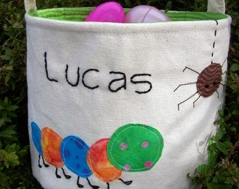 Personalized Easter Basket HANDMADE in Backyard Bugs/ Boy Easter Basket/ Easter Basket with Name