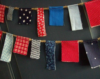 4th of July Mini Fabric Scrappy Garland/ READY TO SHIP / Patriotic Bunting/  Labor Day/ Party Banner / Photo Prop in Bright Red White and Bl
