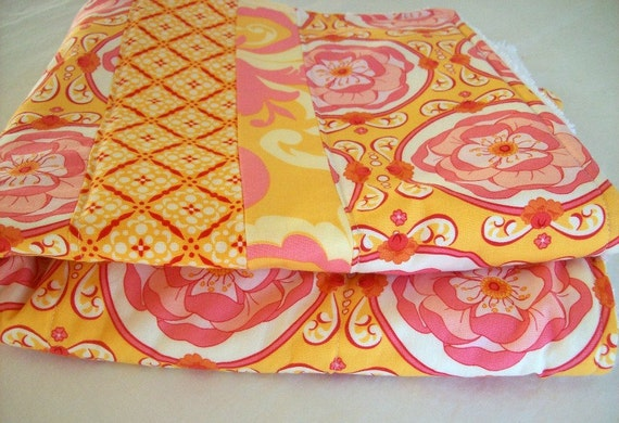 Dish Mat/ Dish Drying Mat/ Kitchen Towel in Fresh Spring Colors of Orange and Pink