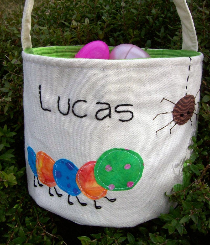Personalized Easter Basket In Backyard Bugs Handmade Boy