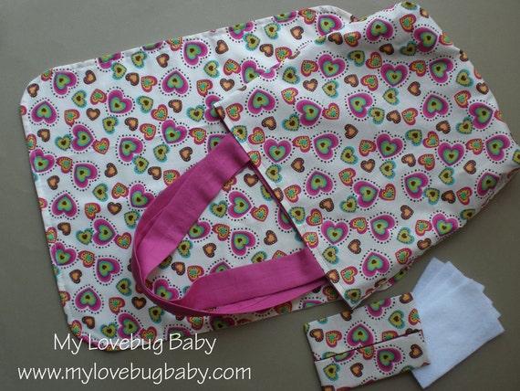 Baby Doll Diaper Bag Set - Pink Hearts