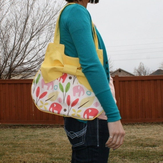 big bow elephant purse in yellow