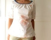 Women blouse Nani Iro fabric, natural woman top, floral print, light tones. Size 4 US