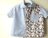 Boy's shirt, first toddler shirt short sleeve. Blue and foxes. Sizes 2T - 3T.