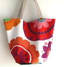 Canvas tote, medium size bucket style bag, shoulder bag. Colorful print handbag. Summer tropical punch. Ready to ship.
