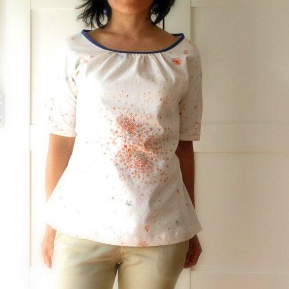 Women blouse Nani Iro fabric, natural woman top, floral print, light tones. Size 4 US