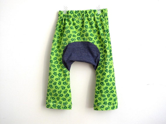 Baby girl summer pants, monkey pants, patch pants, knit trousers. Soft and cool jersey. Size 6 to 12 months. Ready to ship. Special edition.